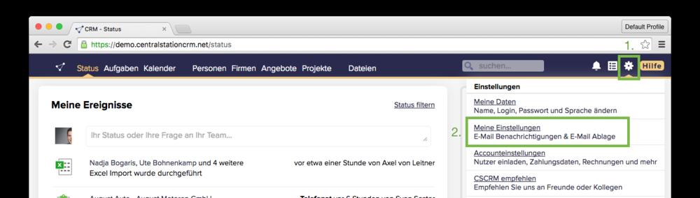 Meine E Mail Adresse Lautet was ist die centralstationcrm e mail ablage und wo finde ich sie
