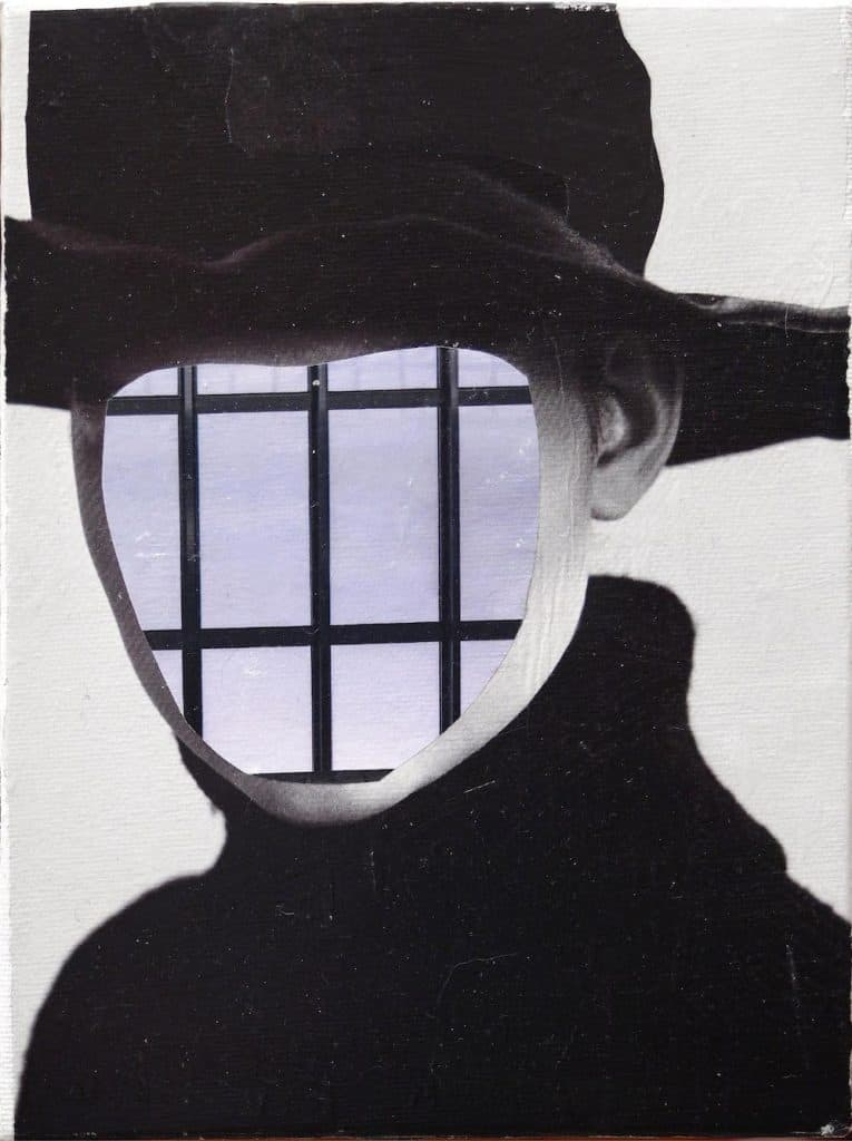 laura zeni sguardo celato 2021 collage su tela 24x18 cm 6