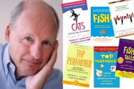 Stephen C Lundin och några av böckerna han författat.