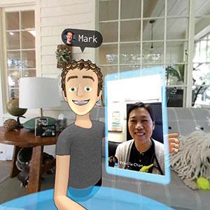 Facebookgrundaren Mark Zuckerberg demonstrerar live-bakgrunder till vr-upplevelsen – här med frun Priscilla Chan (på Messenger-chat) i deras hem.