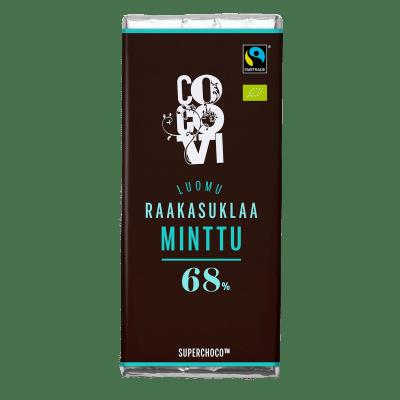 Raakasuklaa Minttu 68 % 30 g (TARJOUSERÄ, PVM. 24.01.19)
