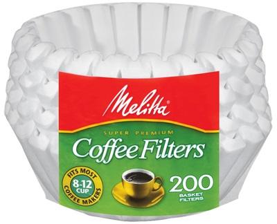 Melitta - Melitta 8-12 Cup Beyaz Sepet Filtre Kağıdı 200 Adet