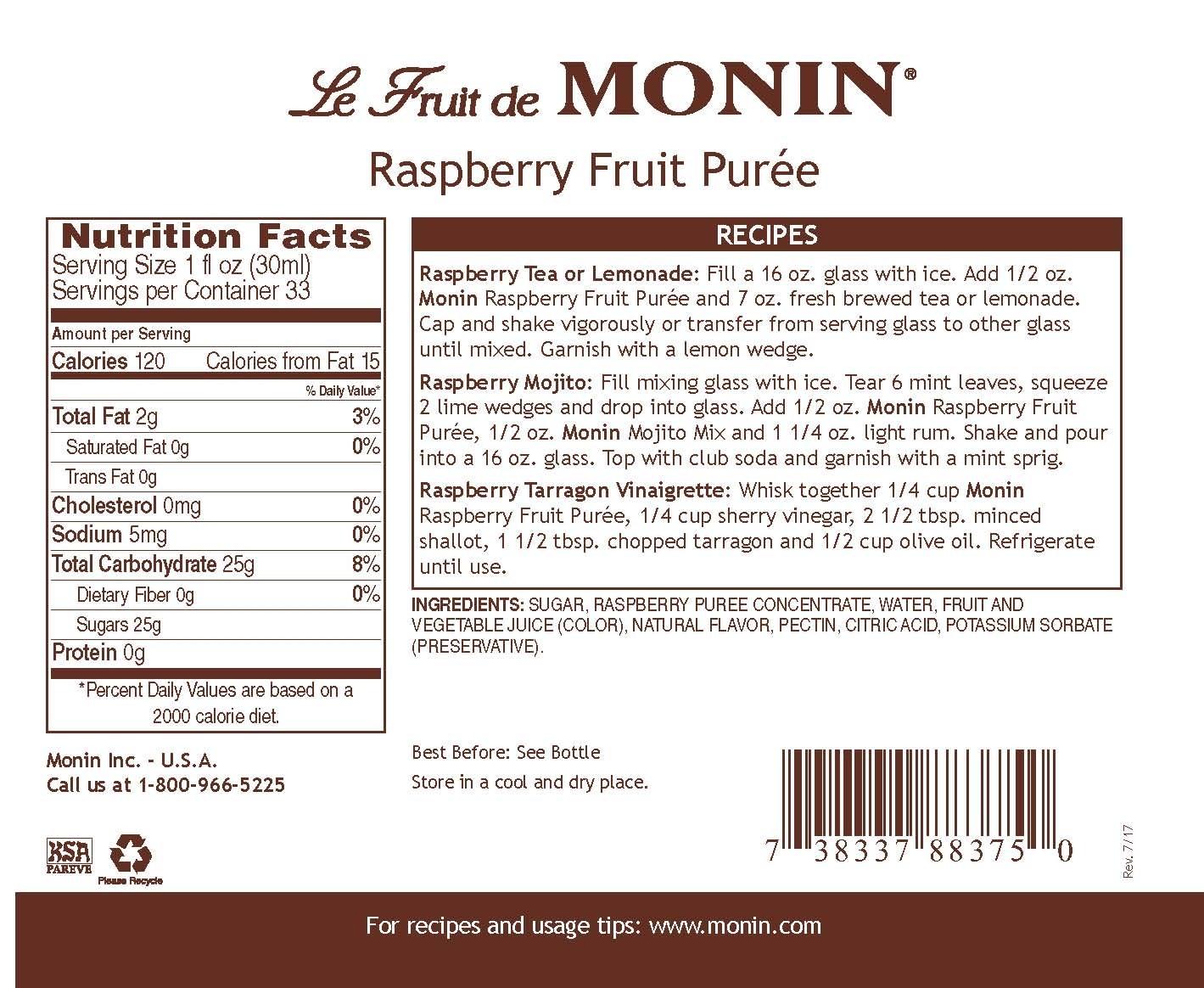 Monin Raspberry Meyve Püresi 1 L