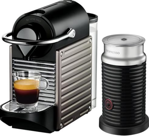 Nespresso - Nespresso Pixie Gri Kapsüllü Kahve Makinesi & Aeroccino Bundle
