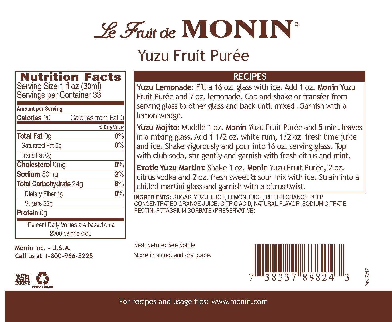 Monin Yuzu Meyve Püresi 1 L