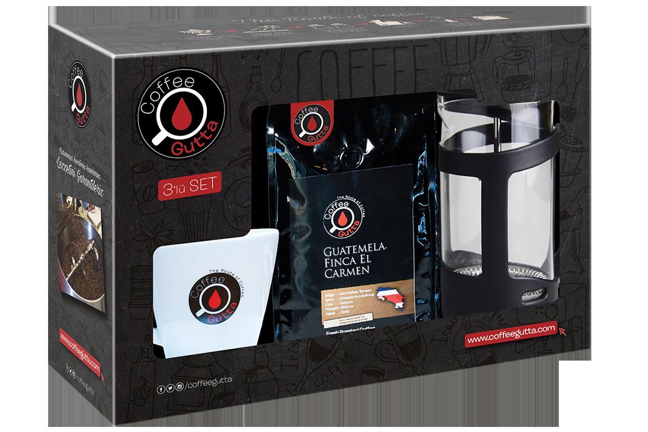 Coffee Gutta - Coffee Gutta Paket Guatemela Finca El Carmen 100 G Kahve + Kupa + French Press