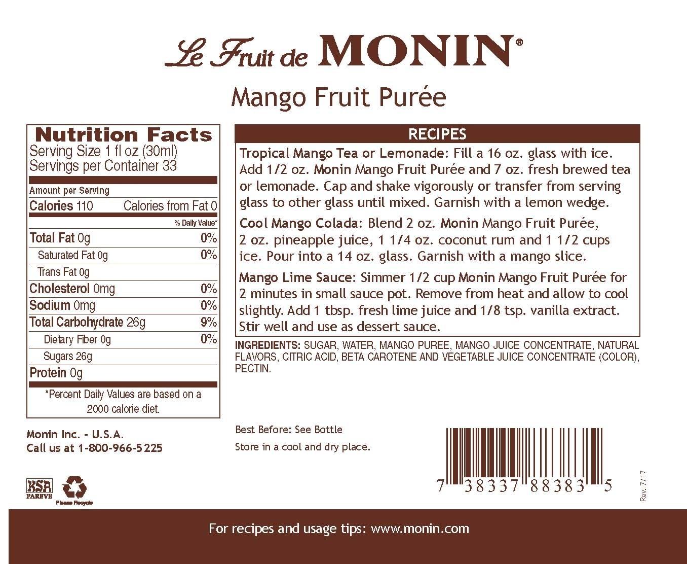 Monin Mango Meyve Püresi 1 L