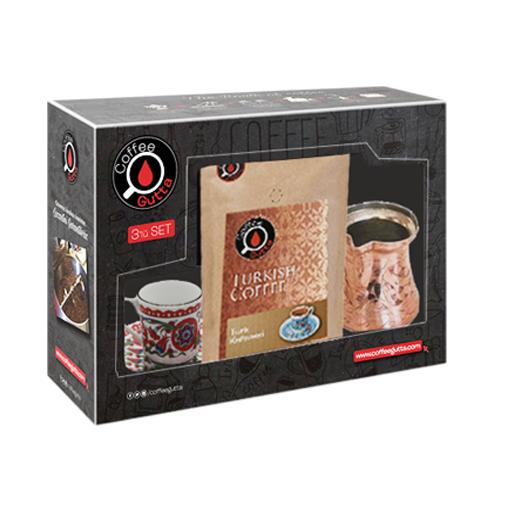 Coffee Gutta Paket Türk Kahvesi 100 G + Bakır Cezve + Türk Kahvesi Fincanı