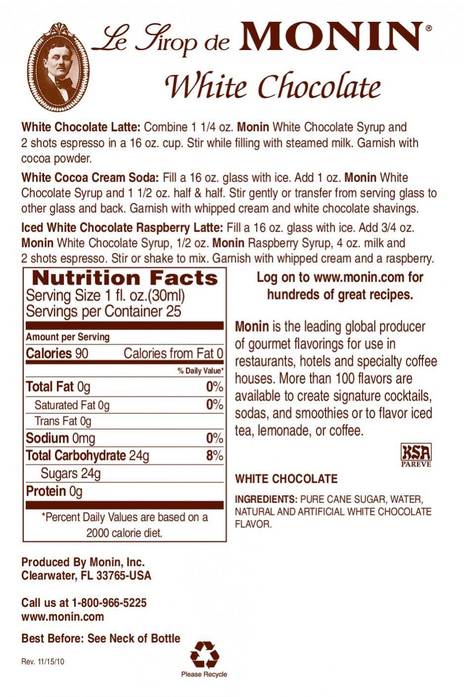 Monin White Chocolate Şurup 0.7 L