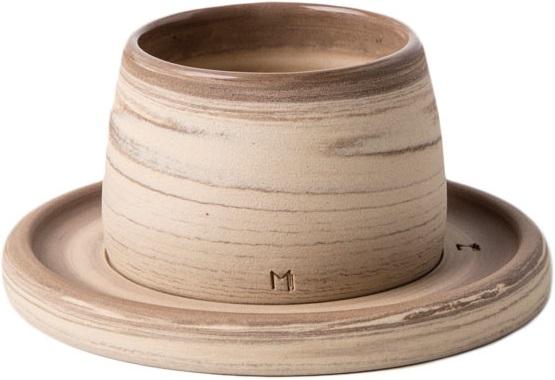 Masuma Ceramics - Masuma Ceramics Kahverengi Espresso Bardak & Tabağı