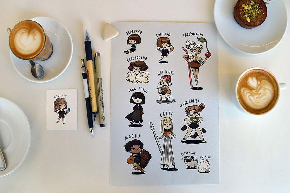 Sevilen Kahveler Çizgi Karakterlere Dönüştüler