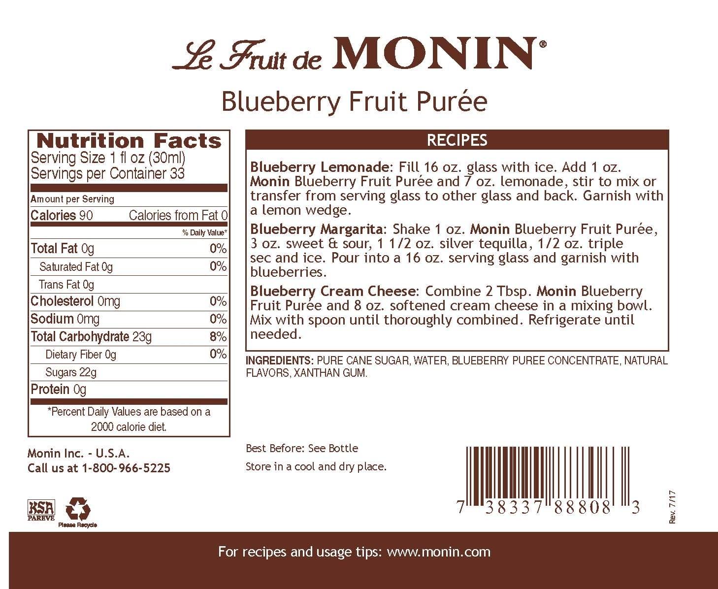 Monin Blueberry Meyve Püresi 1 L