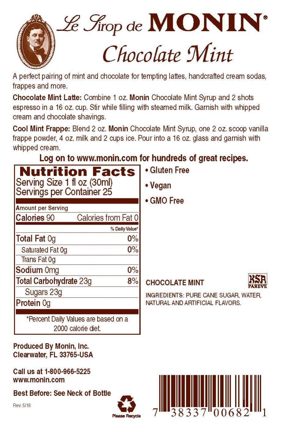 Monin Chocolate Mint Şurup 0.7 L