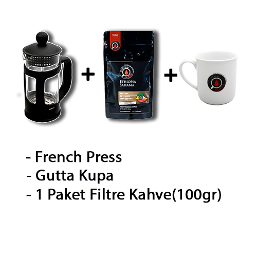 Coffee Gutta - Coffee Gutta French Press + 1 Paket 100 G Filtre Kahve + Gutta 1 Adet Kupa