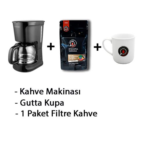 Coffee Gutta - Coffee Gutta Filtre Kahve Makinesi + 1 Paket 100 G Filtre Kahve + Gutta 1 Adet Kupa