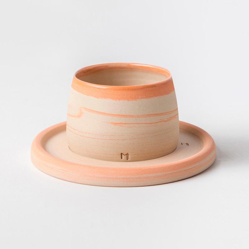 Masuma Ceramics Turuncu Espresso Bardak & Tabağı