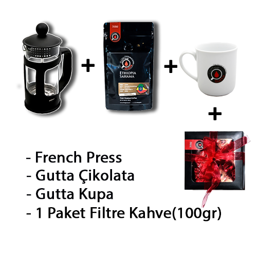 Coffee Gutta - Coffee Gutta French Press + 1 Paket 100 G Filtre Kahve + Gutta 1 Adet Kupa + Gutta Çikolata