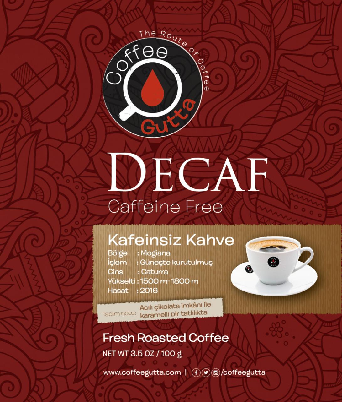 Coffee Gutta Decaf Kafeinsiz Kahve 250 G