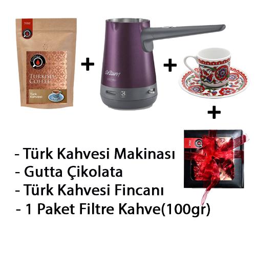 Coffee Gutta - Coffee Gutta Türk Kahve Makinesi + 1 Paket 100 G Türk Kahvesi + Gutta 1 Adet Türk Kahvesi Fincanı + Gutta Çikolata
