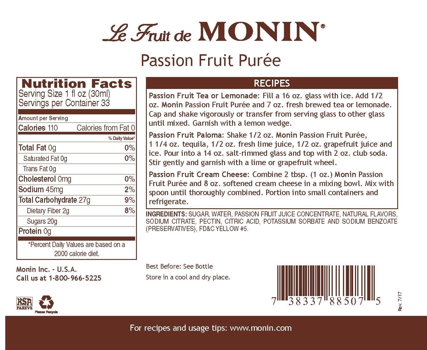 Monin Passion Fruit Meyve Püresi 1 L