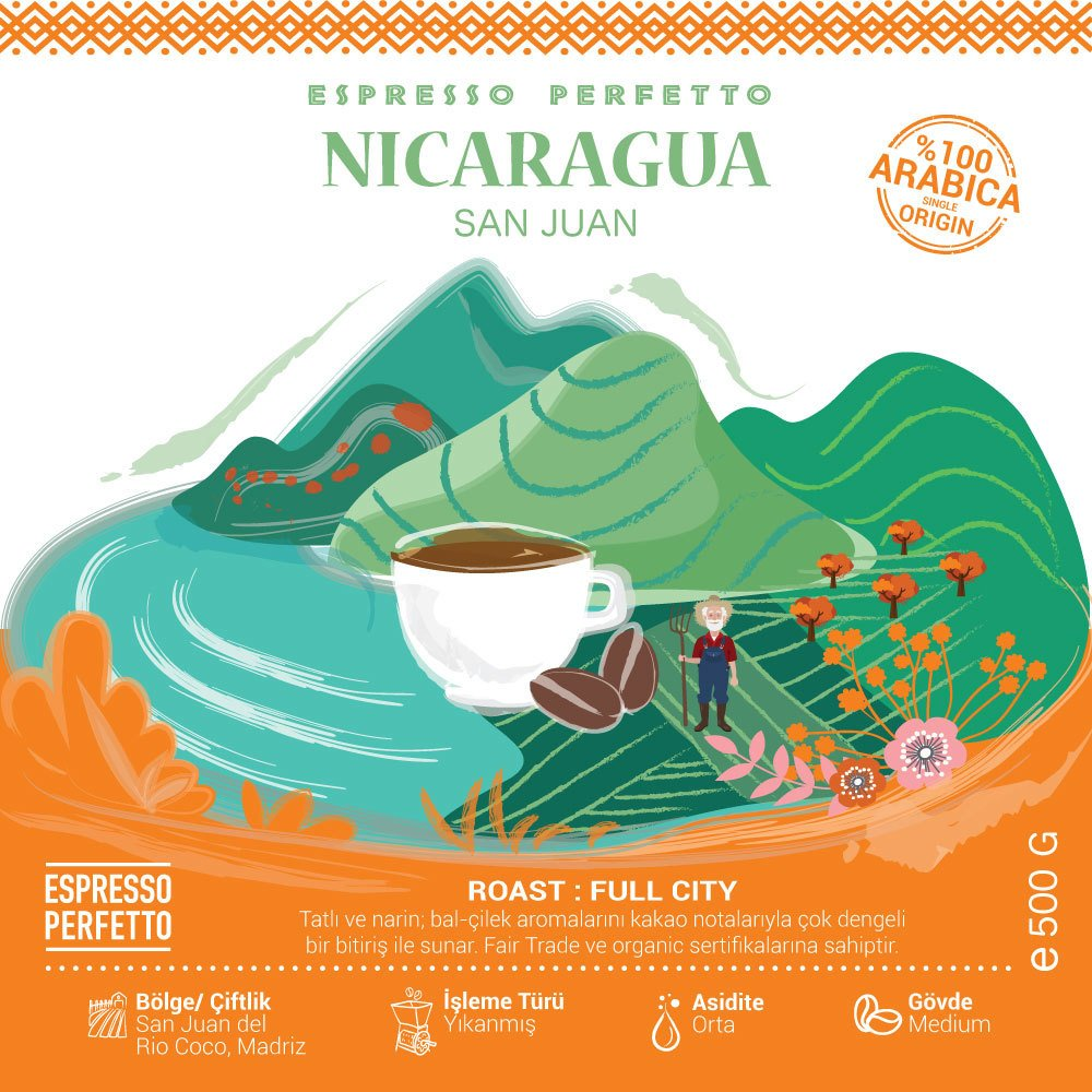 Espresso Perfetto - Espresso Perfetto Nicaragua San Juan Çekirdek Kahve 500 G