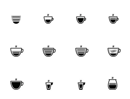 Kahve Severler İçin Özel Tasarım Vektör İkon Seti