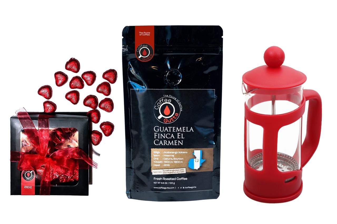 Coffee Gutta - Coffee Gutta Çikolata + 100 G Single Origin Kahve + French Press