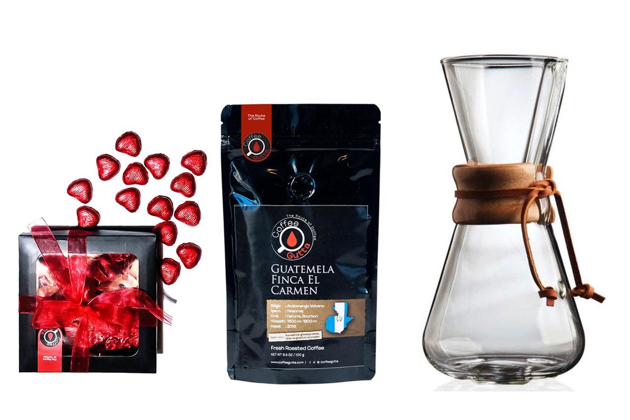Coffee Gutta - Coffee Gutta 100 G Single Origin Kahve + Çikolata + 3 Cup Chemex
