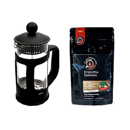 Coffee Gutta Paket Ethiopia Sahama Kahve 100 G + French Press
