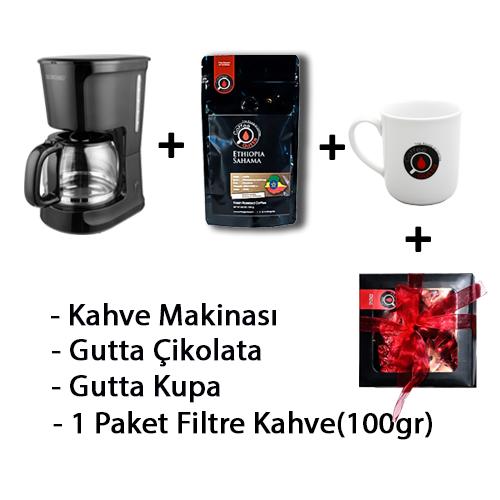 Coffee Gutta - Coffee Gutta Filtre Kahve Makinesi + 1 Paket 100 G Filtre Kahve + Gutta 1 Adet Kupa + Gutta Çikolata