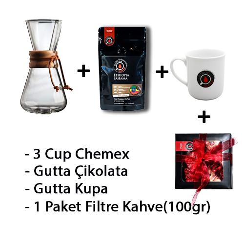Coffee Gutta - Coffee Gutta 3 Cup Chemex + 1 Paket 100 G Filtre Kahve + Gutta 1 Adet Kupa + Gutta Çikolata