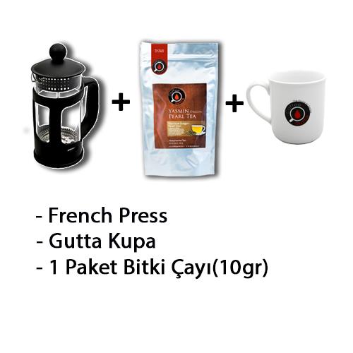Coffee Gutta - Coffee Gutta French Press + 1 Paket 10 G Rooibos & Jasmin Bitki Çayı + 1 Adet Gutta Kupa