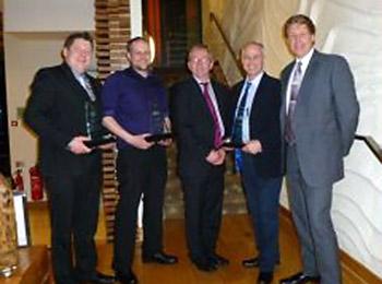 Presentation evening (l to r): David Killalea, md of Carel Ireland, Eoin Lennon (Novum), Seamus Kerr (IRI President), Keith McGreevy (Tech Refrigeration), Liam Kirwan (Daikin Ireland)