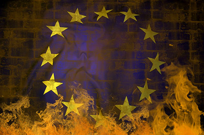 Europe flag in flames