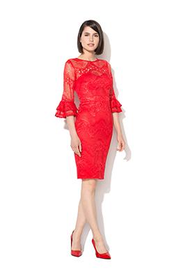 Rochie rosie de dantela cu volane pe maneci