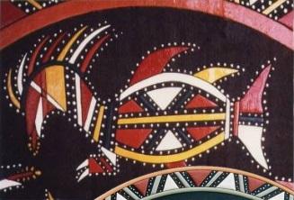 Art  Wayana: détail de ciel de case