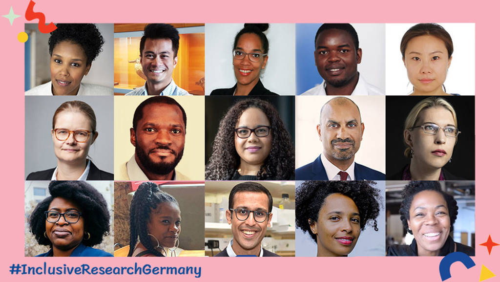 Mridul Agrawal and Nakeema Stefflbauer (bottom row, 3rd and 5th from left) support the initiative #InclusiveResearchGermany