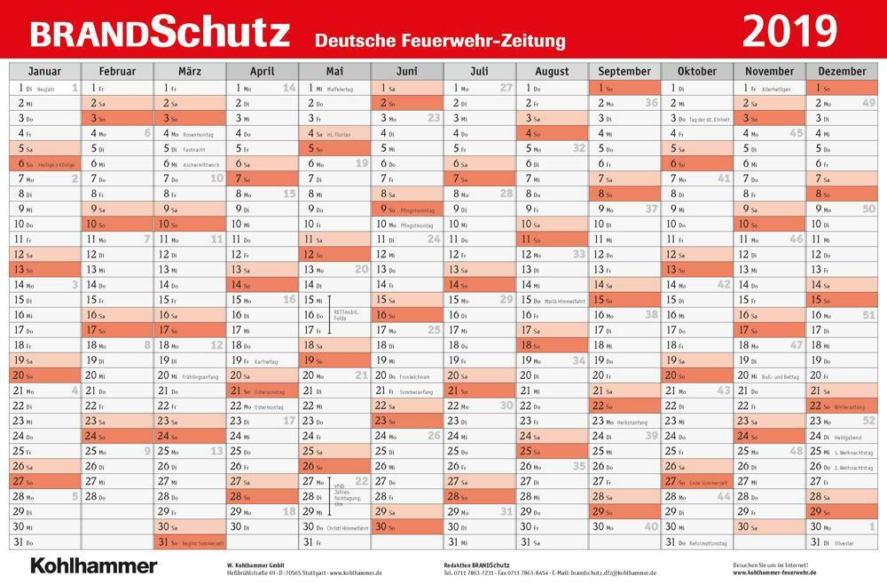 BRANDSchutz Wandkalender 2019