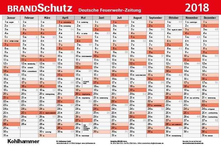 BRANDSchutz Wandkalender 2018