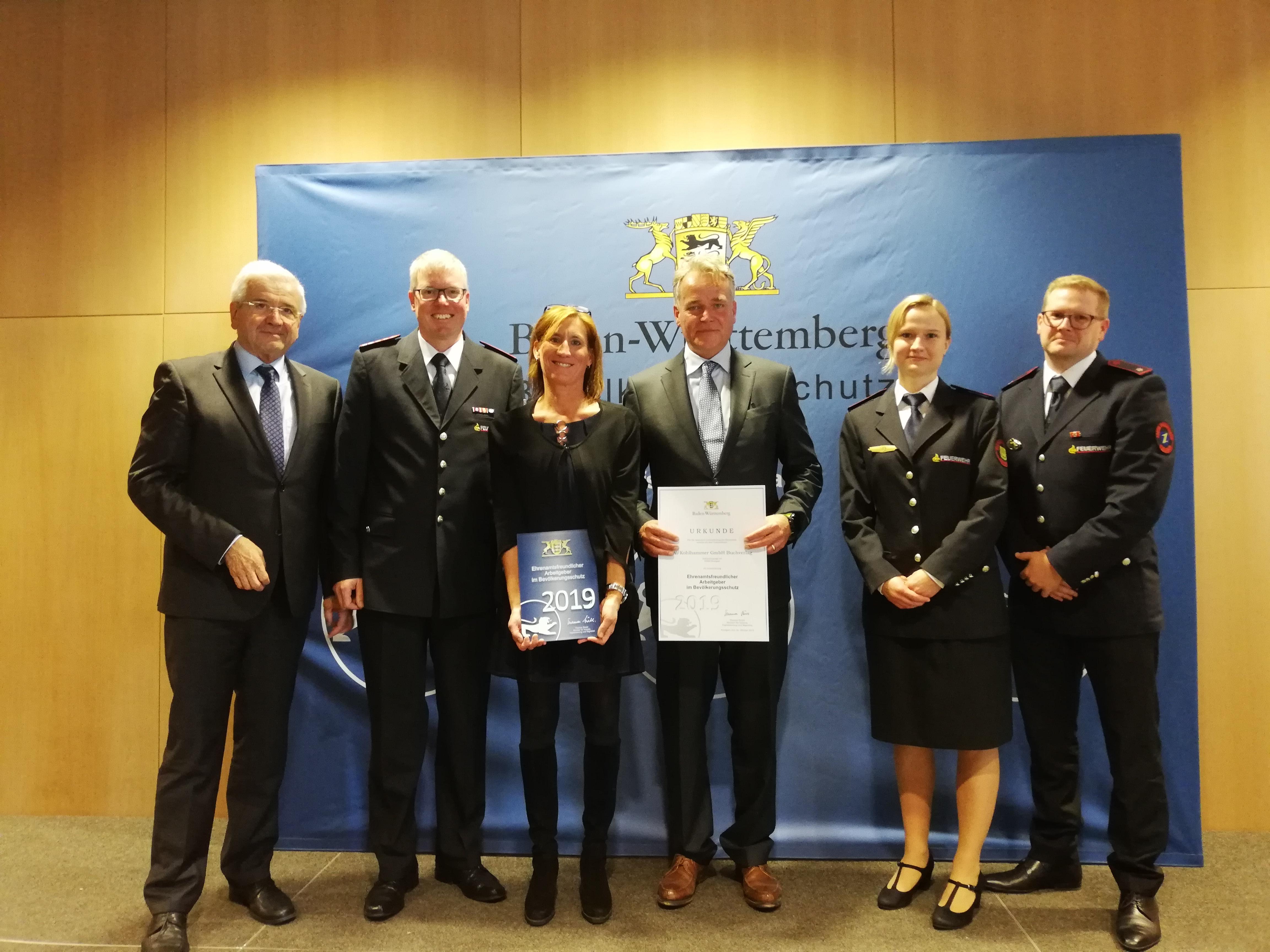 W. Kohlhammer GmbH als ehrenamtsfreundlicher Arbeitgeber im Bevölkerungsschutz ausgezeichnet