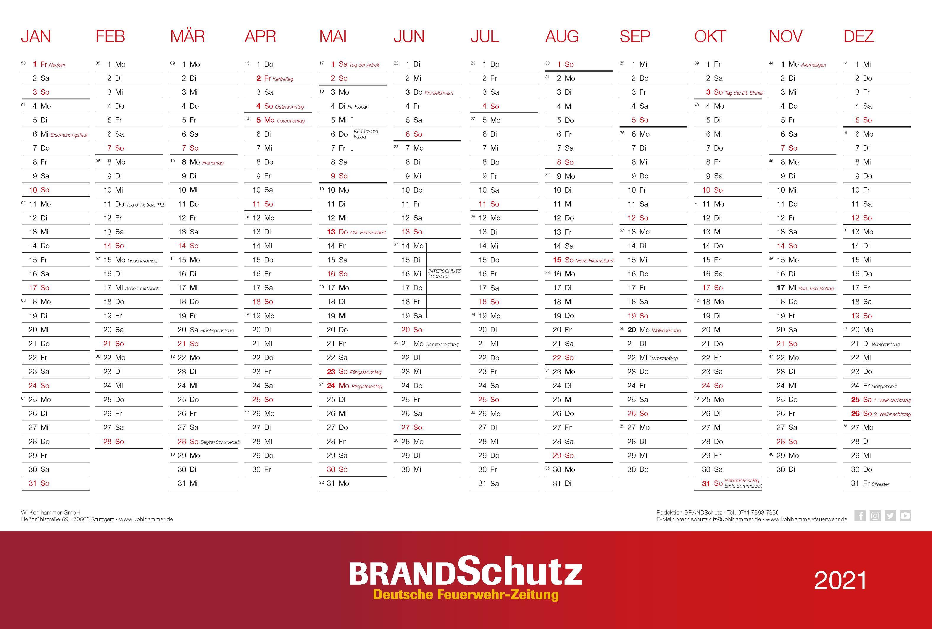 BRANDSchutz Wandkalender 2021