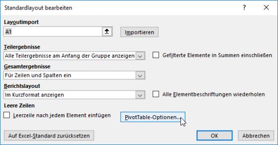 Abb. 4 Dialogfenster STANDARDLAYOUT BEARBEITEN