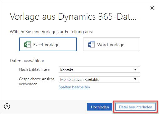 Excel-Vorlagen in Microsoft Dynamics 365