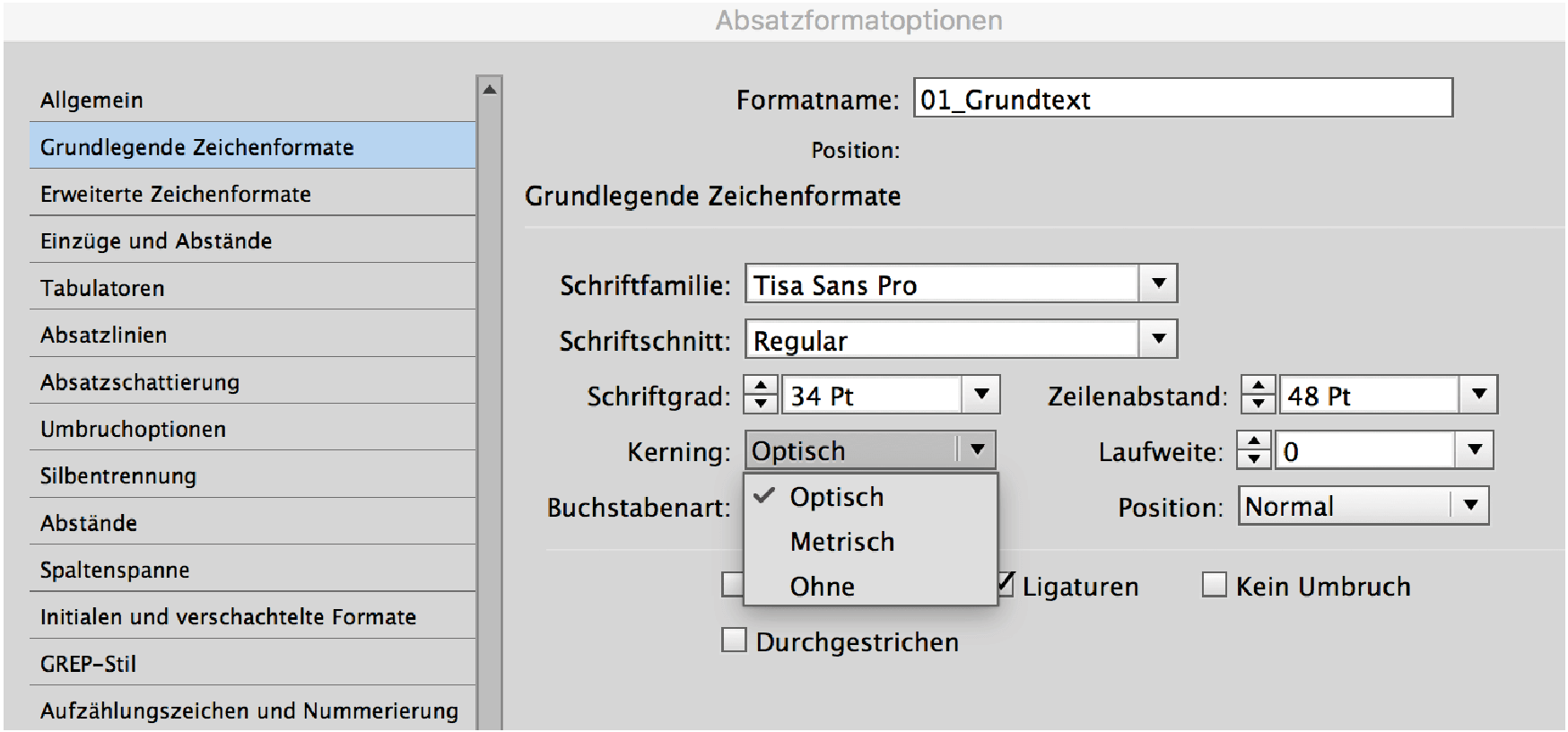 typografie - kerning und laufweite