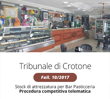Procedura competitiva telematica: stock di attrezzatura per bar pasticceria