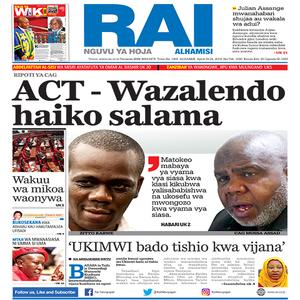 RIPOTI YA CAG  ACT   Wazalendo haiko salama