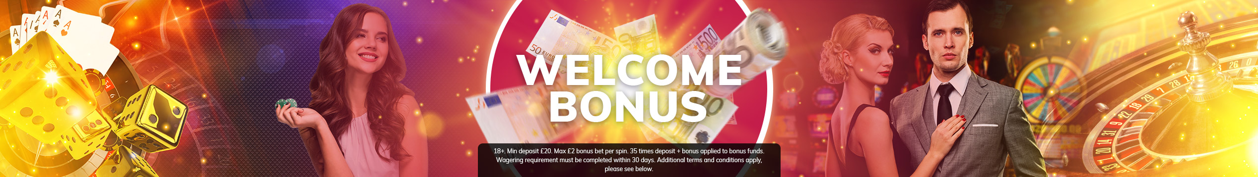 Get up to £100 in Casino Bonus on your first deposit!