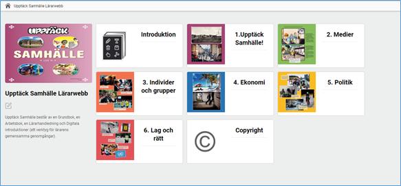 Skärmdump av Lärarwebb startsida som visar omslag, introduktion och kapitelkort