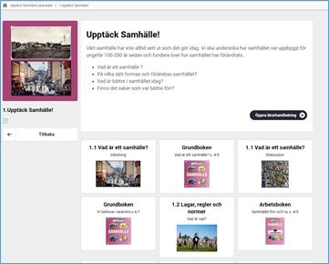 Skärmdump av Lärarwebb kapitelsida som visar kort med sidor, laborationer och övningar