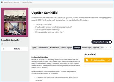 Skärmdump av Lärarwebb lärarhandledningsvy med flikar för olika innehåll och knapp för att ladda ner PDF i detta exempel med arbetsblad